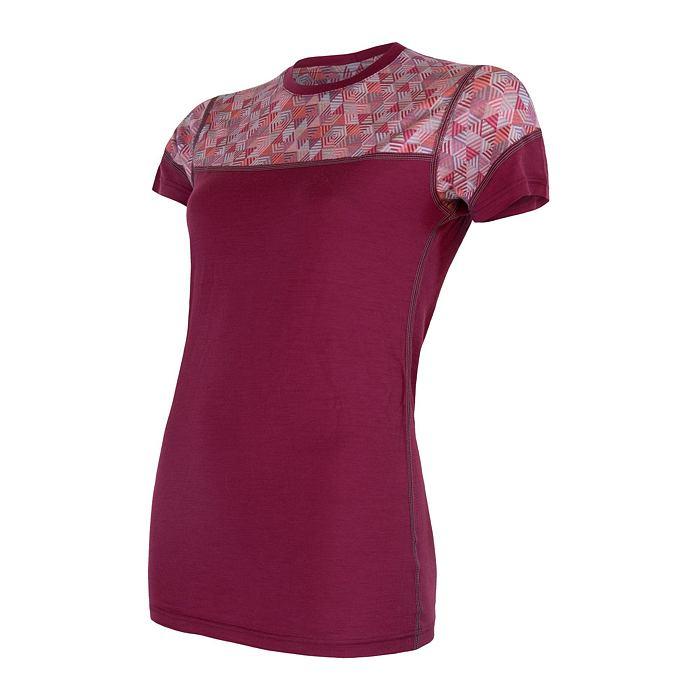 SENSOR MERINO IMPRESS dámské triko kr.rukáv lilla/pattern
