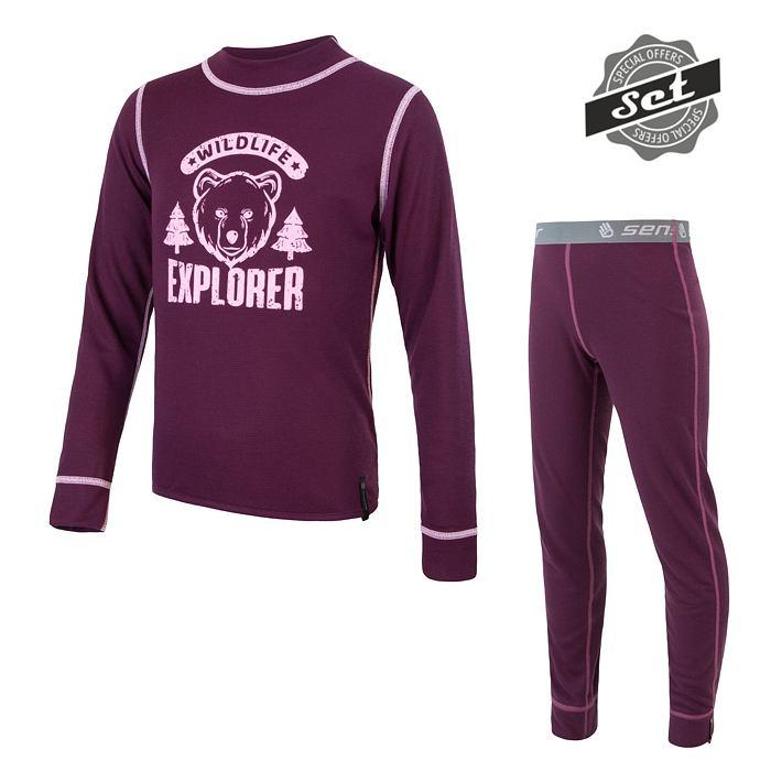 SENSOR DOUBLE FACE SET WILD dětský triko dl.rukáv + spodky fialová