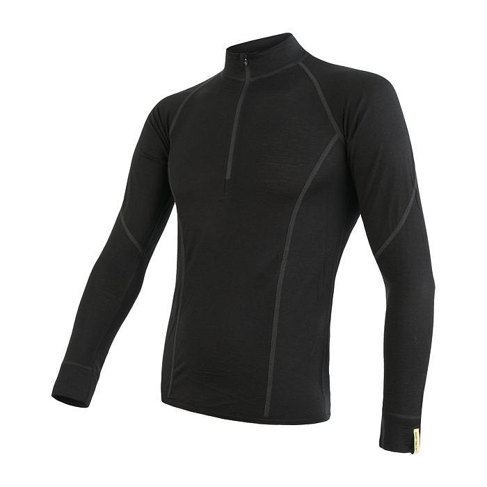 SENSOR MERINO ACTIVE pánské triko dl.rukáv stoják zip černá