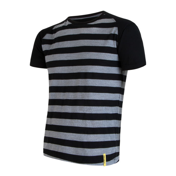 SENSOR MERINO ACTIVE pánské triko kr.rukáv černá pruhy