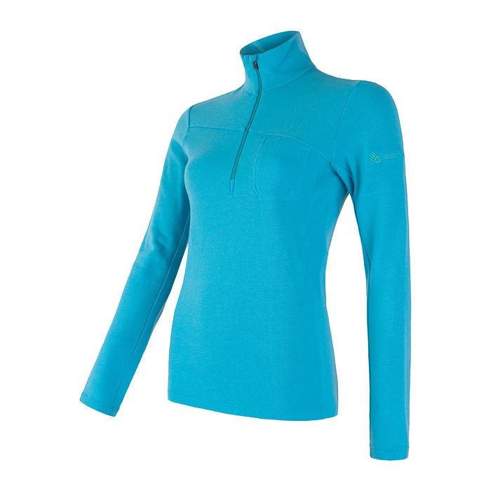 SENSOR MERINO EXTREME dámské triko dl.rukáv zip modrá