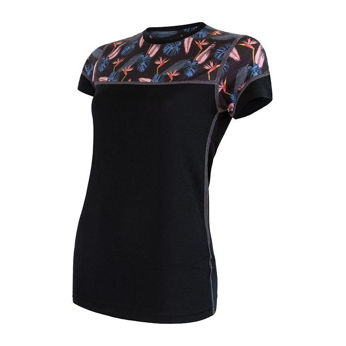 SENSOR MERINO IMPRESS dámské triko kr.rukáv černá/floral